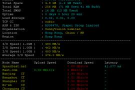 脚本一键检测Linux VPS/服务器配置、IO、国内节点下载测速